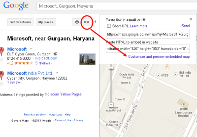 Geneate google map embed code