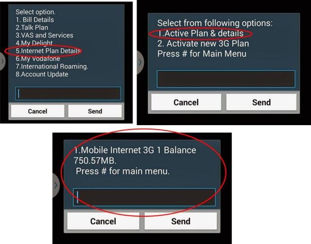 Vodafone Postpaid 3g balance check